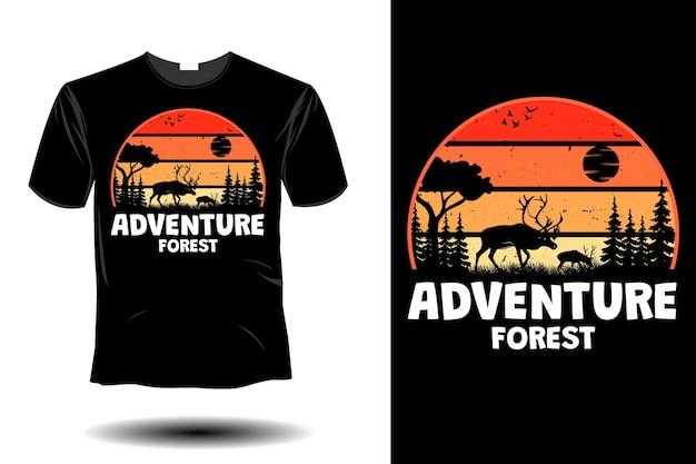 Projeto retro vintage da floresta de aventura