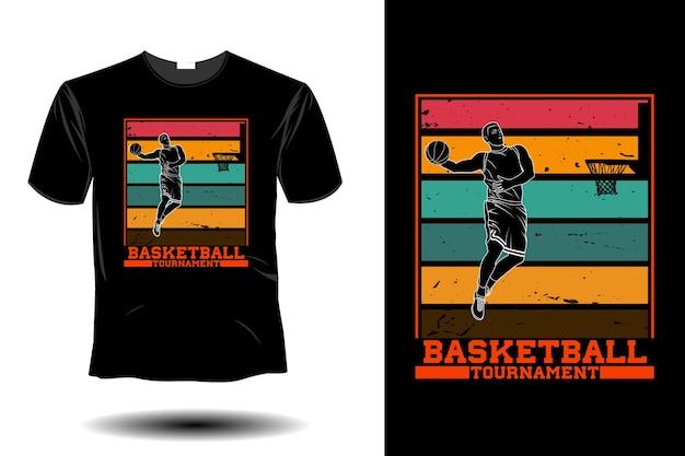 Projeto retro vintage da maquete do torneio de basquete