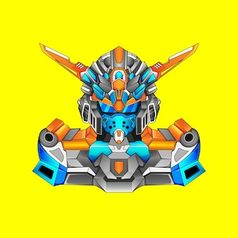 Projeto robótico de fantasia básica gundam com estilo de ilustração moderna para emblema de movimento