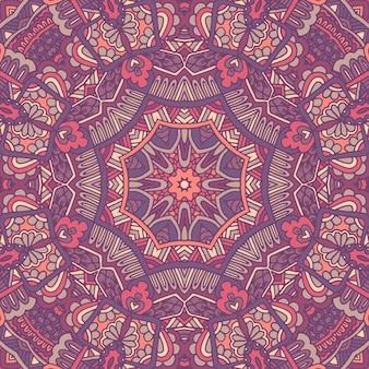 Projeto sem costura étnica tribal flor indiana. ornamento de padrão de mandala colorido festivo