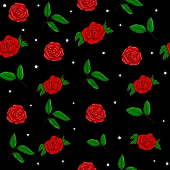 Projeto sem emenda do teste padrão do vetor das rosas vermelhas no preto. papel de parede