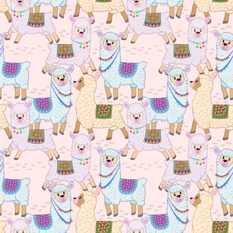 Projeto sem emenda do vetor do teste padrão da alpaca bonito.