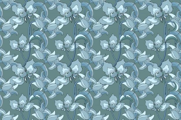Projeto sem emenda floral do papel de parede ou da tela.