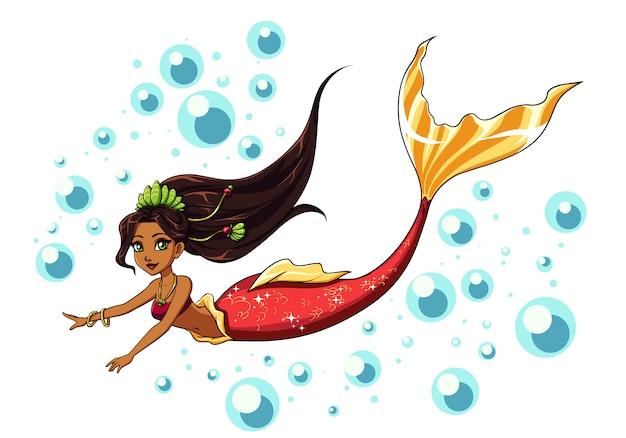Projeto sereia natação bonito. menina dos desenhos animados com cabelo castanho e rabo de peixe vermelho. isolado no fundo branco e bolhas. modelo de design cartões, caderno, loja, cartaz.