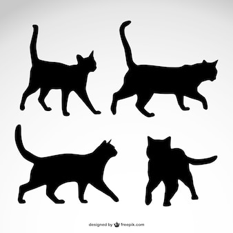 Projeto silhuetas vetor gato