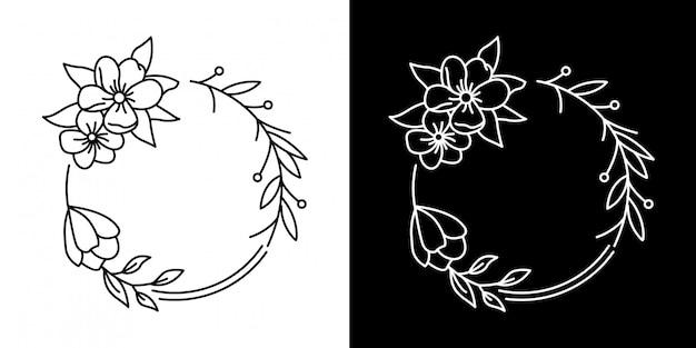 Projeto simples de monoline do quadro da flor