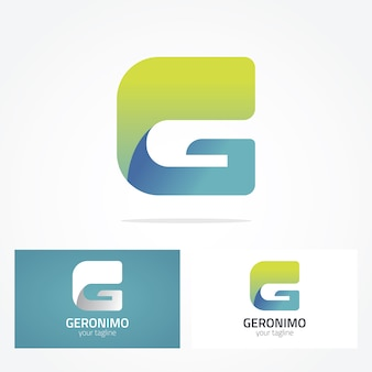 Projeto verde e azul do logotipo da letra g