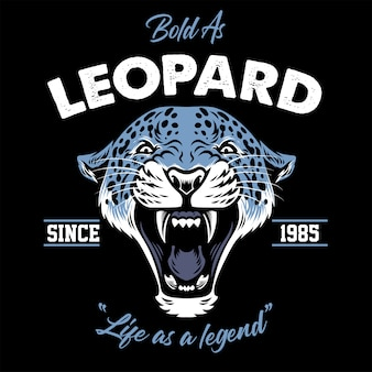 Projeto vintage da cabeça de leopardo