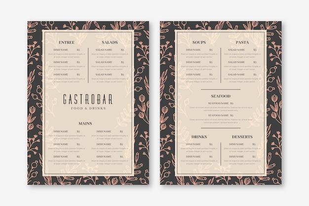 Projeto vintage de menu de restaurante