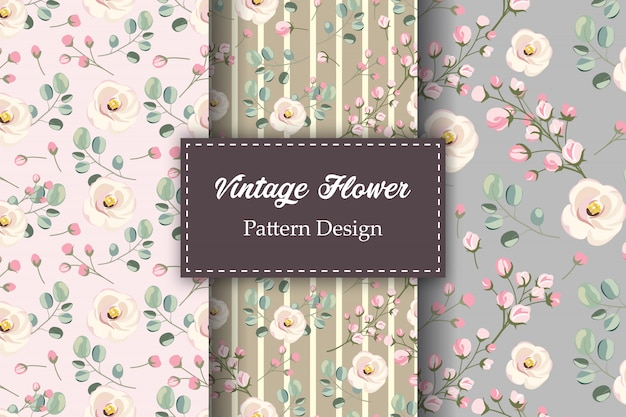Projeto vintage floral padrão sem emenda