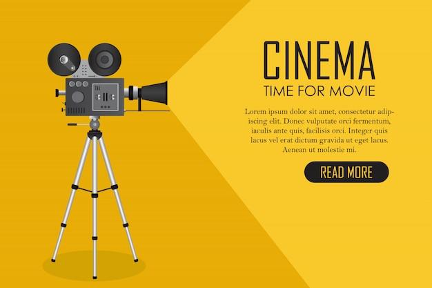 Projetor de cinema retrô. tempo para o modelo de filme