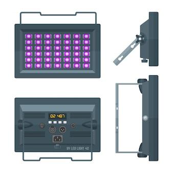 Projetor de palco profissional ultravioleta led colorido plano