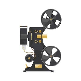 Projetor vintage, velha câmera de vídeo. câmera preta com detalhes em ouro