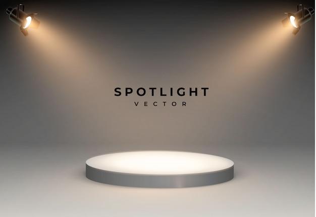 Projetores com luz branca brilhante brilhante conjunto de palco. efeito iluminado forma projetor, ilustração do projetor para iluminação de estúdio quatro holofotes brilham da parte inferior ao pódio.