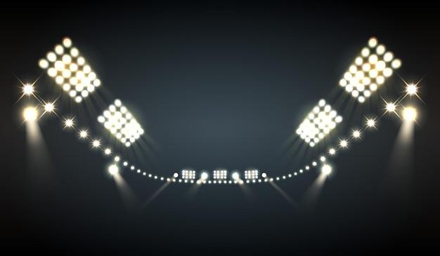 Projetores de estádio realistas com símbolos de luzes brilhantes