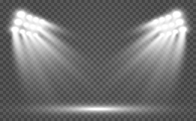 Projetores do estádio iluminados. isolado em um fundo transparente. luzes brilhantes. cena iluminada.