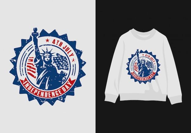 Projetos da camisa do dia da independência americana premium