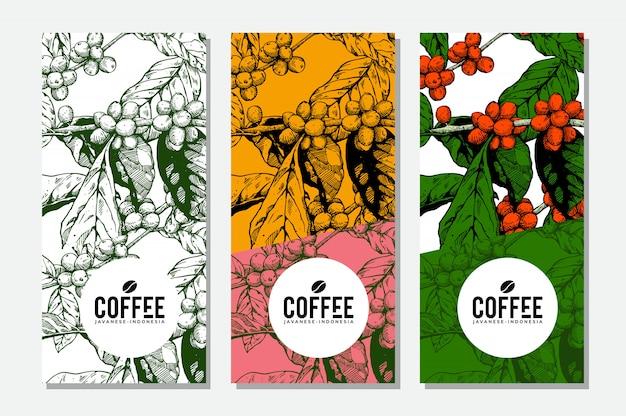Projetos de banner de café para mídia promocional