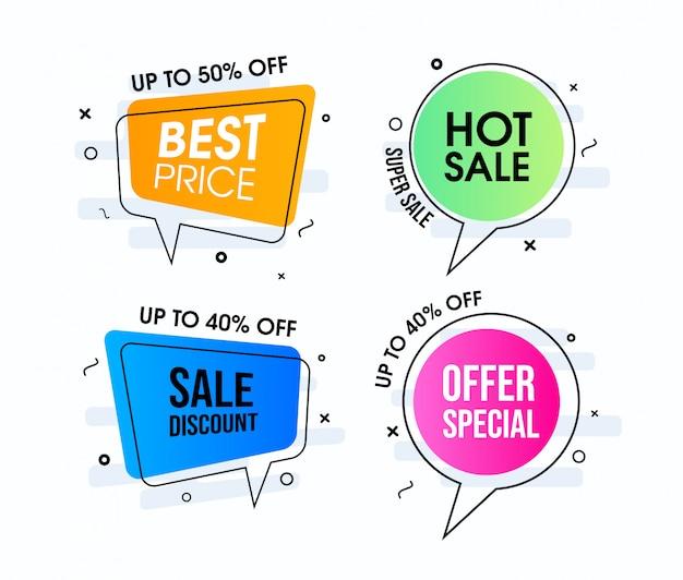 Projetos de bolhas de discurso de venda quente moderno