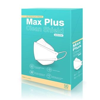 Projetos de caixa de embalagem de máscara médica 3d verde