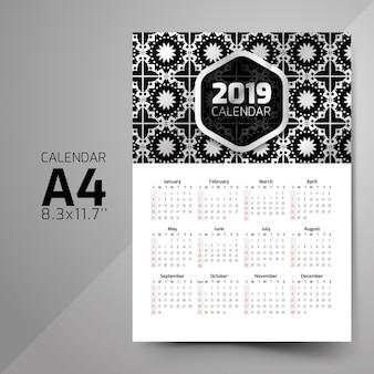 Projetos de calendário padrão preto e branco