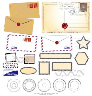 Projetos de cartão postal vintage e elementos postais