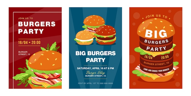 Projetos de convite de festa de hambúrgueres grandes na moda. convites para festivais de fast food criativos com saborosa junk food. ilustração de desenho animado