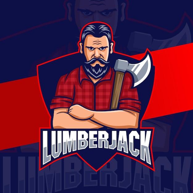 Projetos de logotipo de mascote de personagem forte de homem lenhador com machado para homem e logotipo de jogo