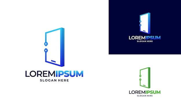 Projetos de logotipo de tecnologia de telefone, vetor de modelo pixel mobile tech