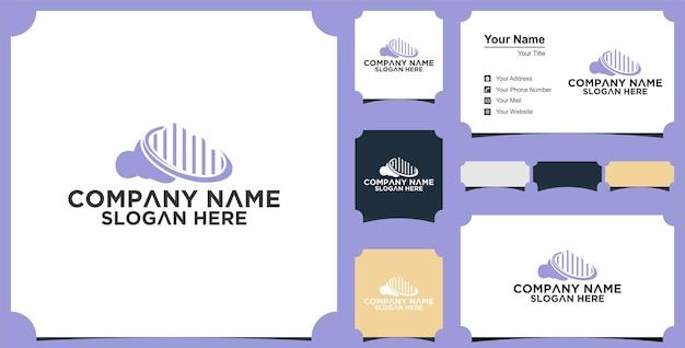 Projetos de logotipo do cloud building e cartão de visita premium