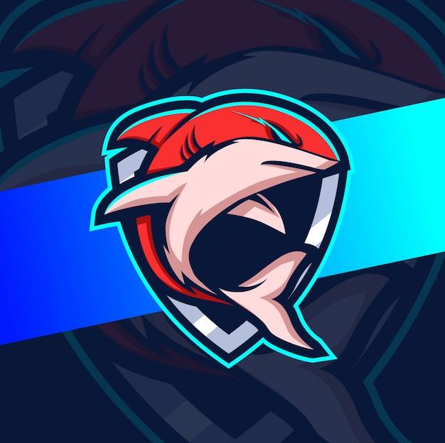 Projetos de logotipo esport de mascote de tubarão