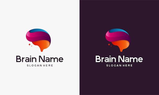 Projetos de modelo de logotipo 3d brain, ilustração em vetor logotipo educação