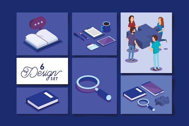 Projetos de pessoas com equipamentos de escritório
