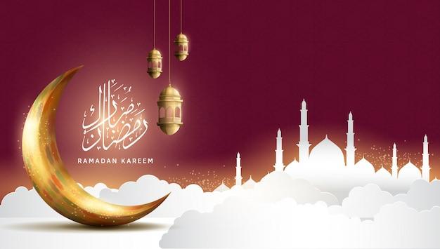 Projetos de ramadan kareem para celebração do ramadã sagrado premium com lua dourada e lanterna em fundo vermelho com mesquita e nuvens