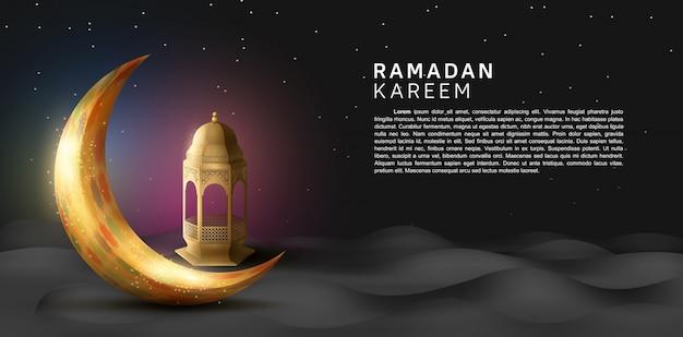 Projetos de ramadan kareem para celebração do ramadã sagrado premium com lua dourada e lanterna no fundo do deserto à noite