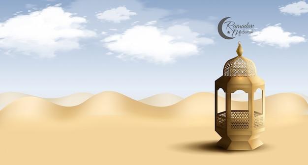Projetos de ramadan mubarak para celebração sagrada do ramadã com lanterna dourada no deserto