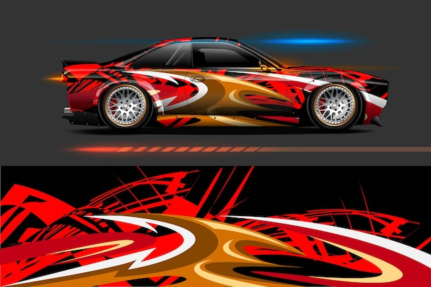 Projetos gráficos de listras abstratas para marcas e carros com pintura de deriva