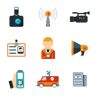 Projetos gráficos simples de vários ícones lisos de jornalismo isolados no fundo branco.
