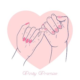 Promessa de mão desenhada mindinho