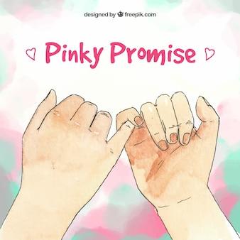 Promessa pinky na mão desenhada estilo
