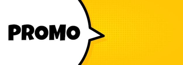 Promo. banner de bolha do discurso com texto promocional. alto-falante. para negócios, marketing e publicidade. vetor em fundo isolado. eps 10.