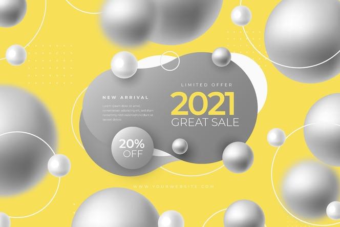Promo de banner de vendas abstrato com a cor do ano