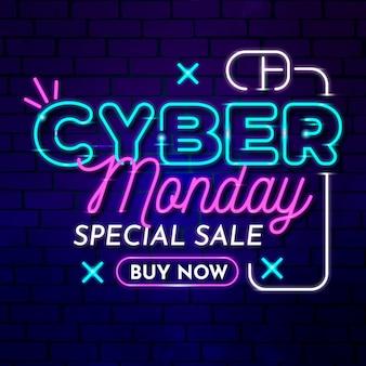 Promo de texto neon cyber segunda-feira