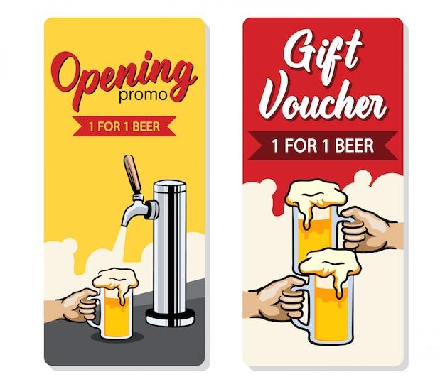 Promo design de voucher de cerveja grátis.