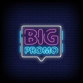 Promo grande sinais de néon estilo texto