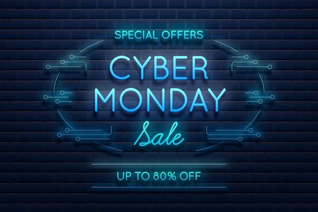 Promoção cibernética de luz neon azul