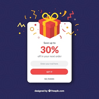 Promoção colorida pop up com design plano