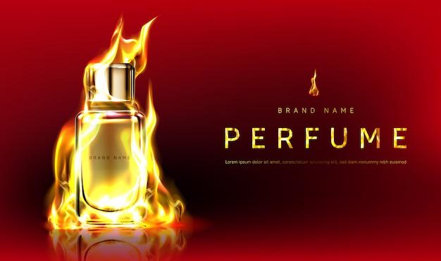 Promoção com frasco de perfume em chamas de fogo
