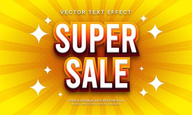 Promoção com tema de efeito de texto editável de super venda