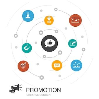 Promoção, conceito de círculo colorido com ícones simples. contém elementos como publicidade, vendas, conversão de leads, atração